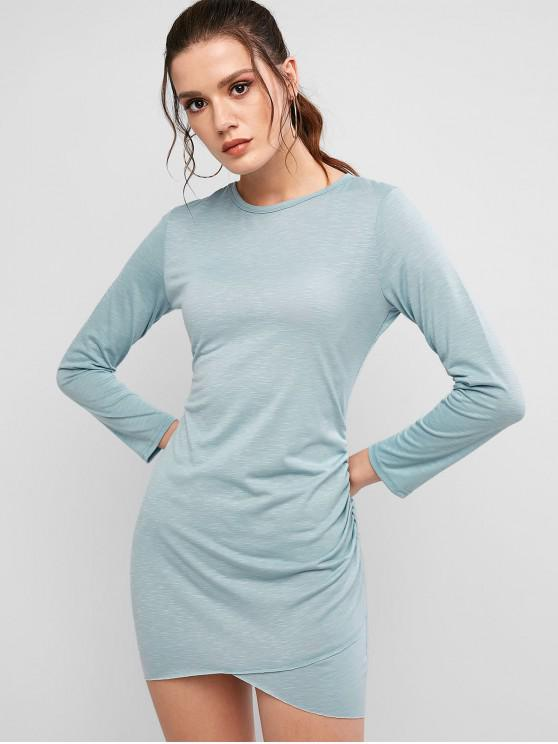 hot Ruched Bodycon Dress - BABY BLUE L