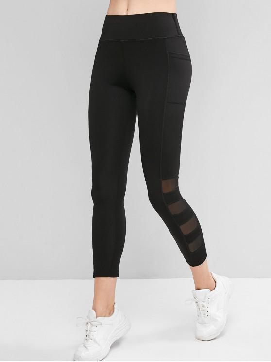 lady Mesh Insert Side Pocket Skinny Leggings - BLACK XL