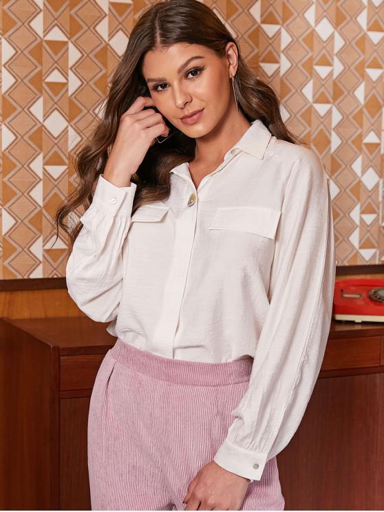 women ZAFUL Button Up Faux Pockets Solid Shirt - WHITE M