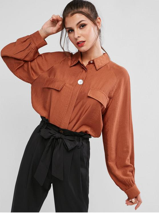 latest ZAFUL Button Up Faux Pockets Solid Shirt - MAHOGANY L