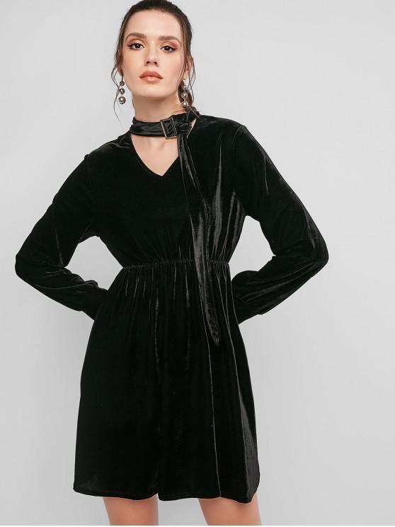 chic Long Sleeve Choker Velvet Mini Dress - BLACK S