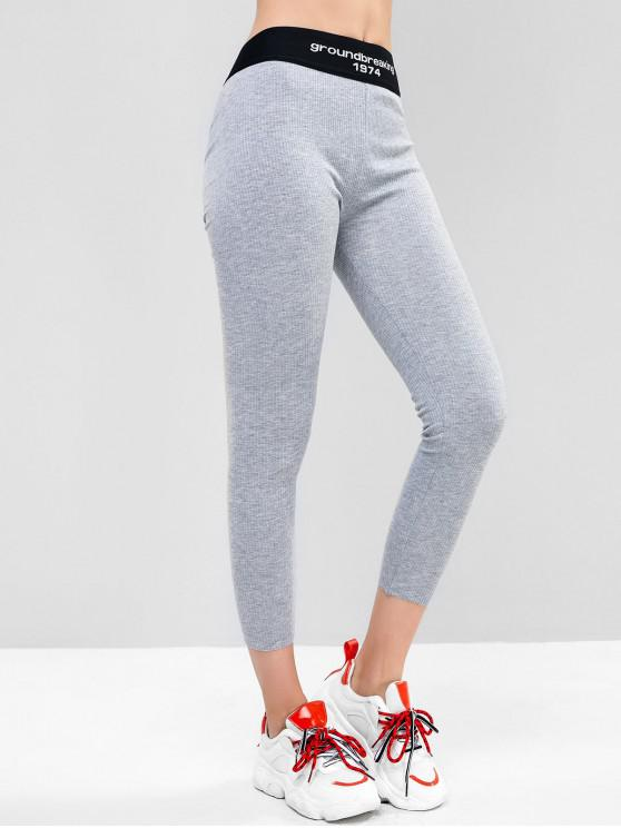latest High Waisted Ribbed Slogan Graphic Leggings - GRAY ONE SIZE