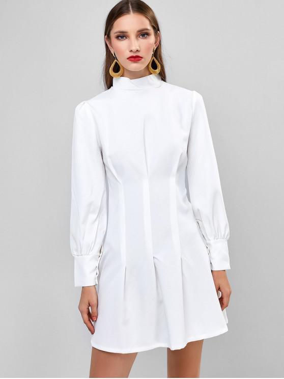 hot Long Sleeve Ruched High Neck Mini Dress - WHITE M