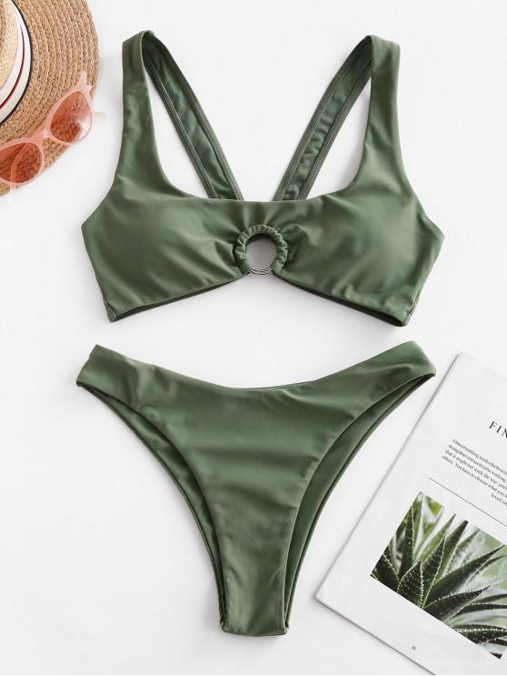 women ZAFUL O-ring Cutout U Neck Bikini Swimsuit - LIGHT GREEN S