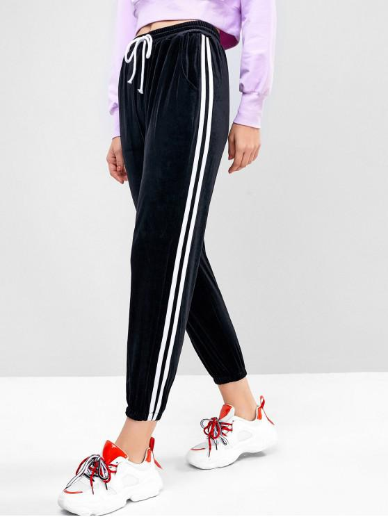latest Side Striped Velvet Drawstring Jogger Pants - BLACK S