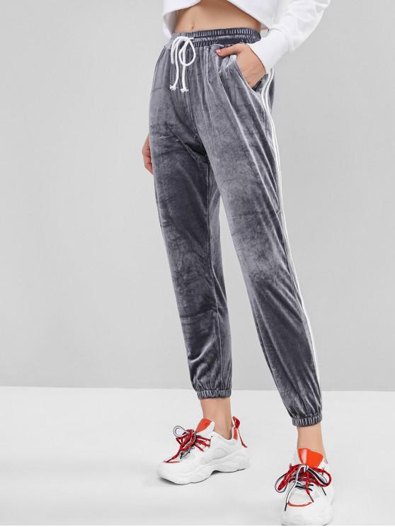 unique Side Striped Velvet Drawstring Jogger Pants - GRAY S