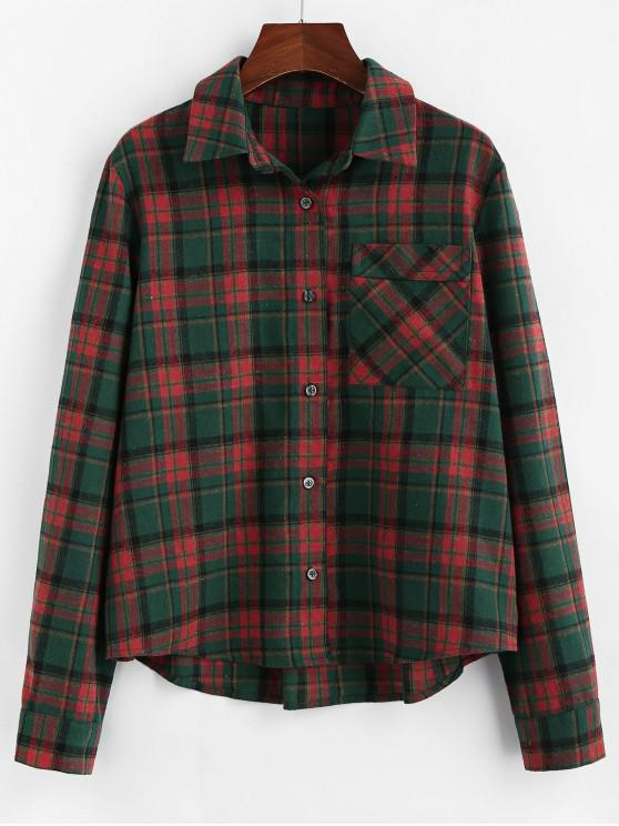 outfits ZAFUL Plaid Chest Pocket Curved Button Up Shirt - MULTI L