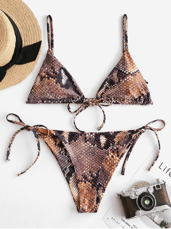 women's ZAFUL Snake Print Tie String Bikini Swimsuit - MULTI-A S