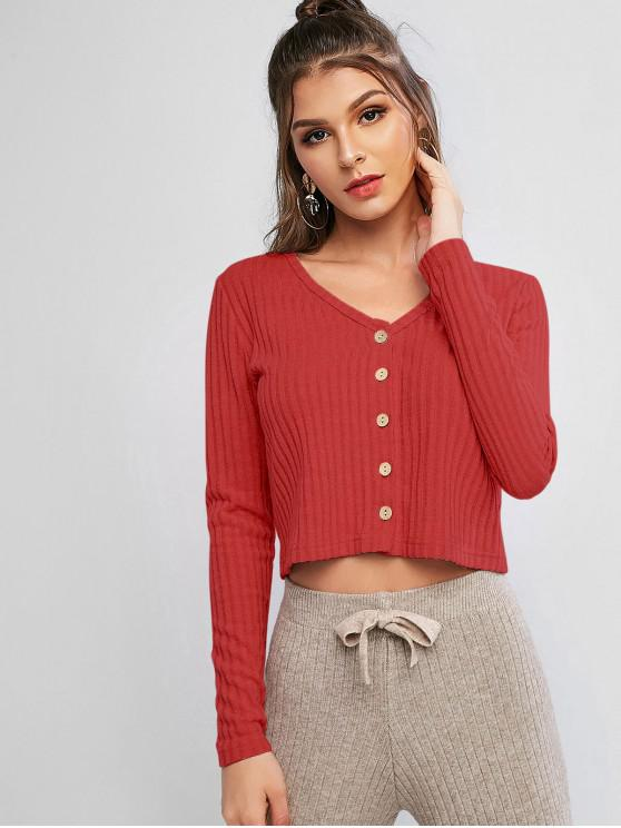 women Solid Ribbed Button Up Cardigan - CHESTNUT RED XL