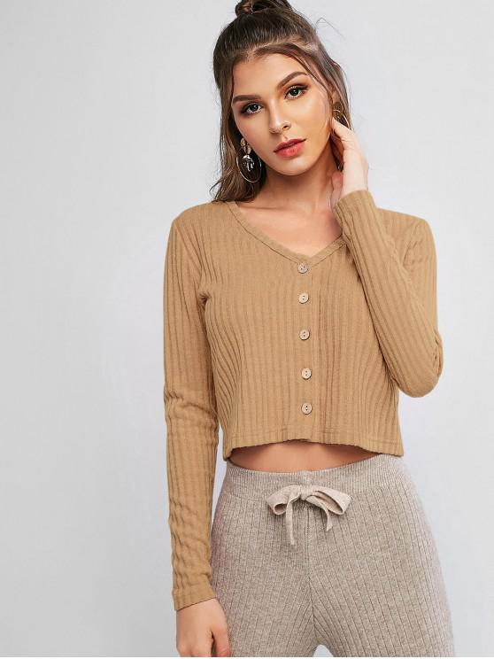 affordable Solid Ribbed Button Up Cardigan - TAN S