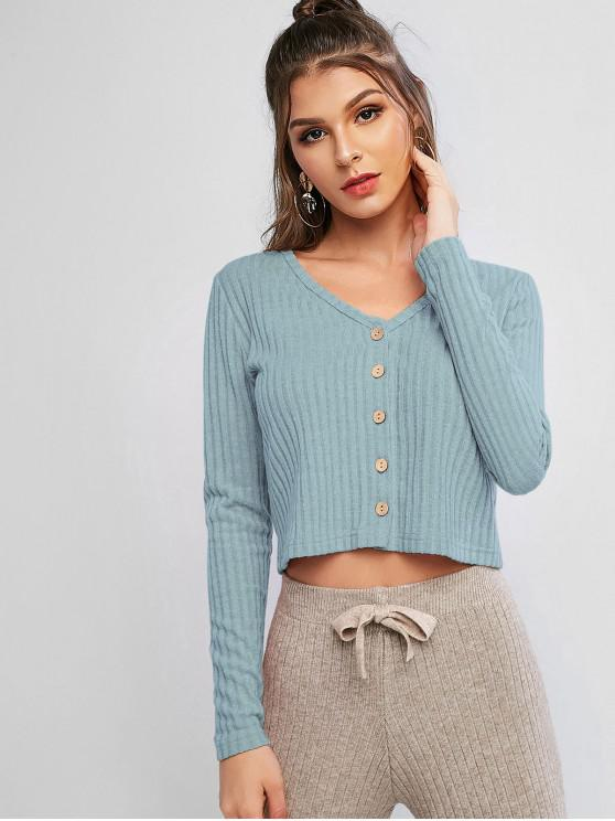 fancy Solid Ribbed Button Up Cardigan - BLUE GRAY S
