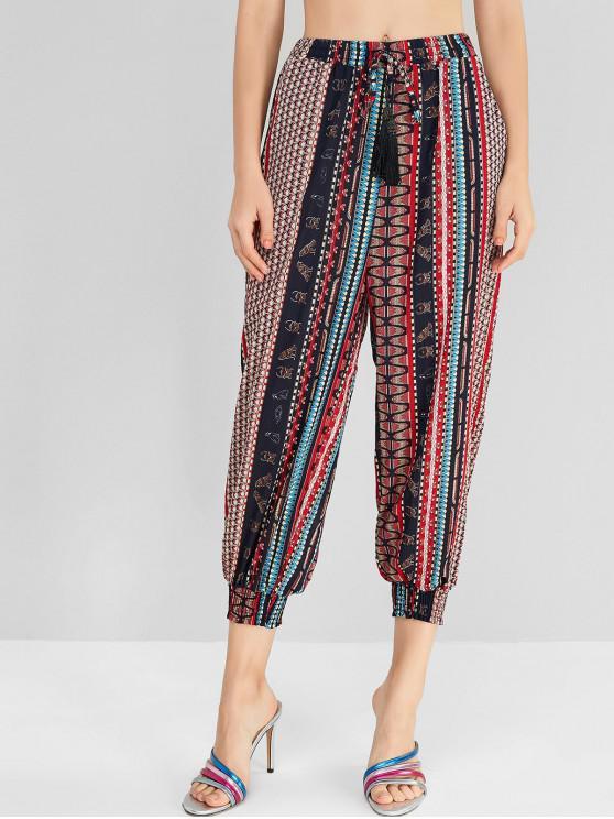 ladies Tassels Bohemian Printed Jogger Pants - MULTI-A XL