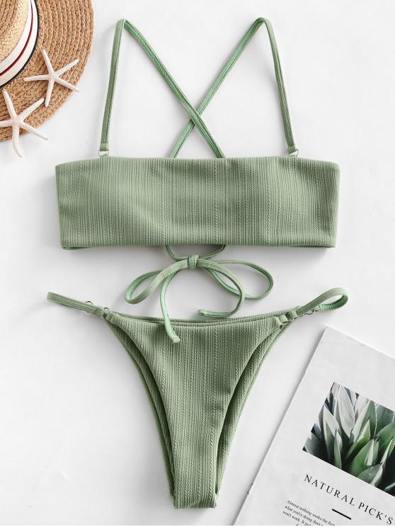 fancy ZAFUL Lace Up Ribbed Textured String Bikini Swimsuit - LIGHT GREEN M