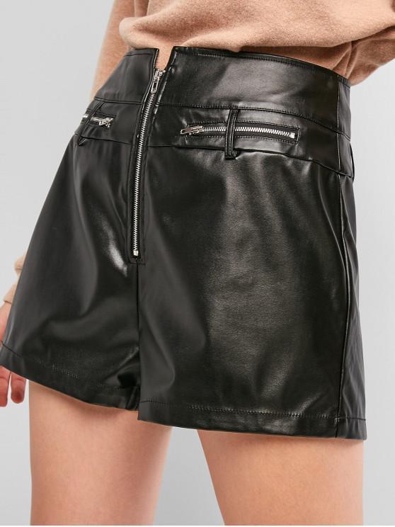 ZAFUL Zip Shorts de cuero de imitación frontales sólidas - Negro S