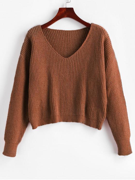 online Drop Shoulder V Neck Crop Chenille Sweater - CHESTNUT XL