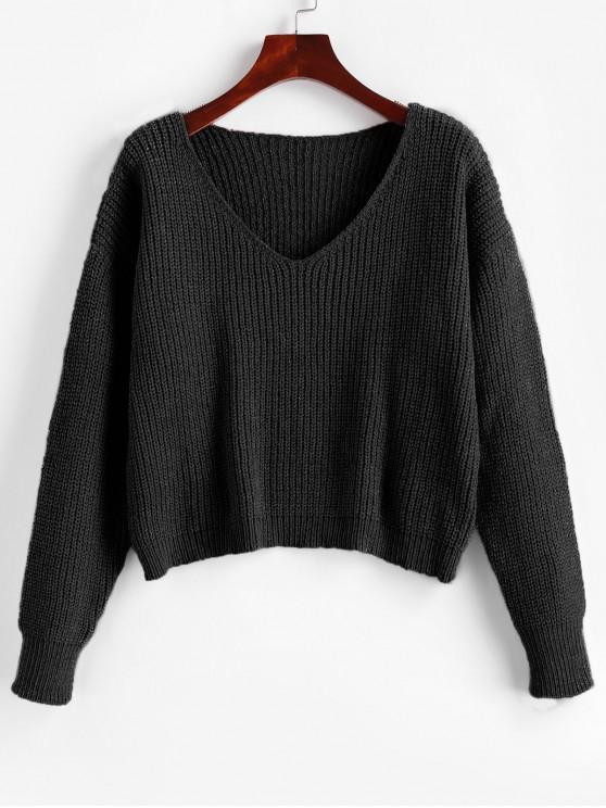 Caída de hombro cuello en V Crop Chenille suéter - Negro M