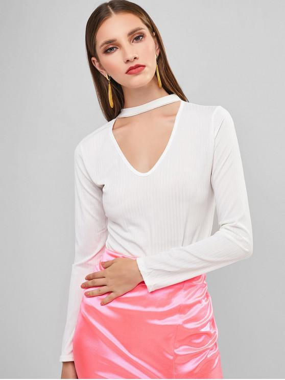 new Snap Button Long Sleeve Ribbed Choker Bodysuit - WHITE S