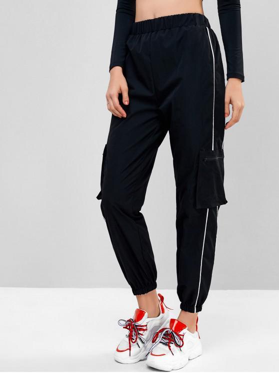 trendy Piping Zipper Pockets Jogger Pants - BLACK XL