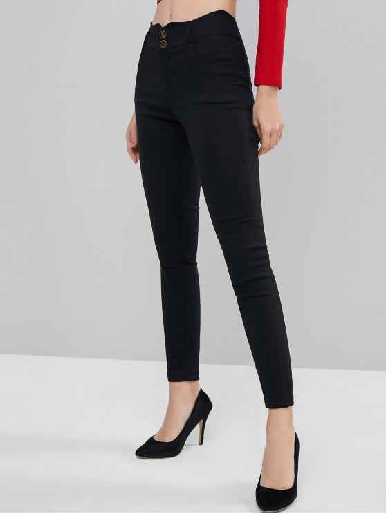 fancy Wavy Waist Two Buttoned Solid Leggings - BLACK M