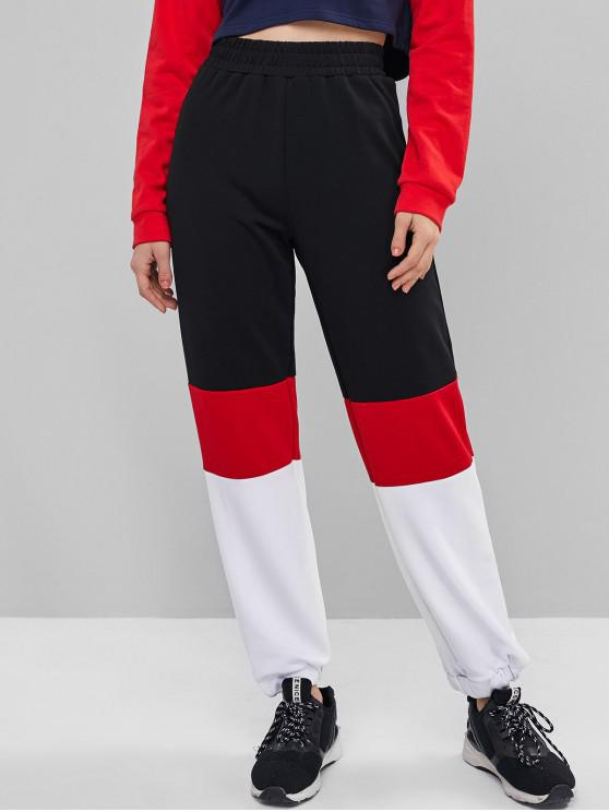 latest Colorblock High Waist Jogger Pants - MULTI-A L