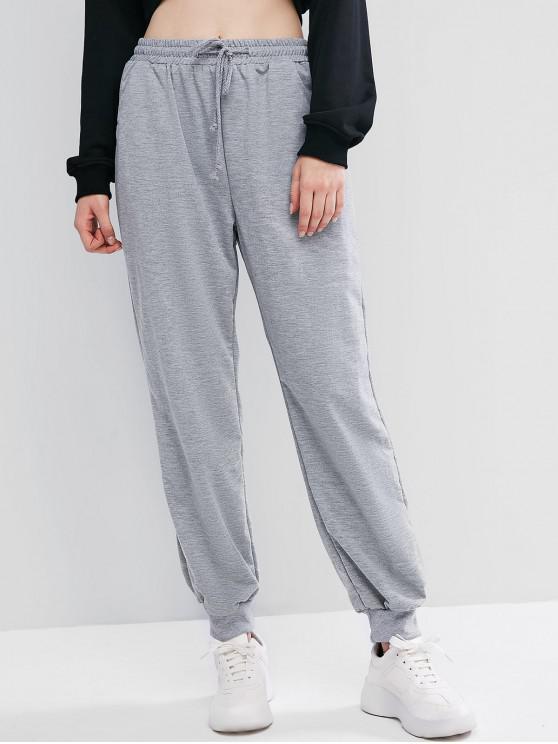 chic Lounge Waist Drawstring Pockets Jogger Pants - GRAY S