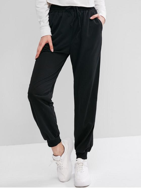 womens Lounge Waist Drawstring Pockets Jogger Pants - BLACK L