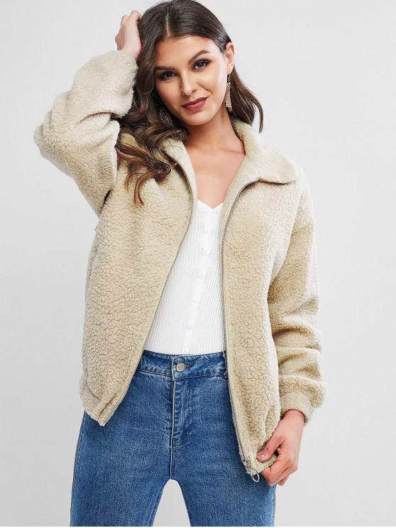 outfits ZAFUL Zipper Drop Shoulder Teddy Coat - BEIGE L
