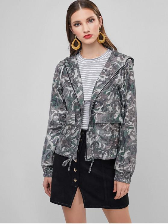 ZAFUL С капюшоном Камуфляжный принт Металлическая нить Куртка - ACU Камуфляжный M