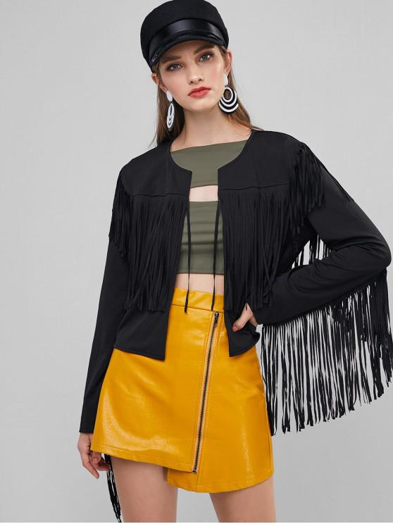 new ZAFUL Open Placket Fringed Cropped Jacket - BLACK L