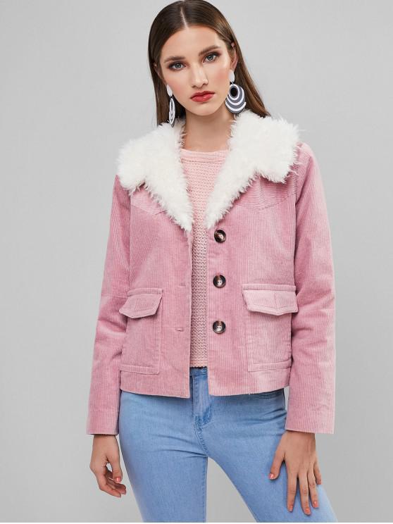 outfit ZAFUL Pockets Fuzzy Corduroy Jacket - PINK S