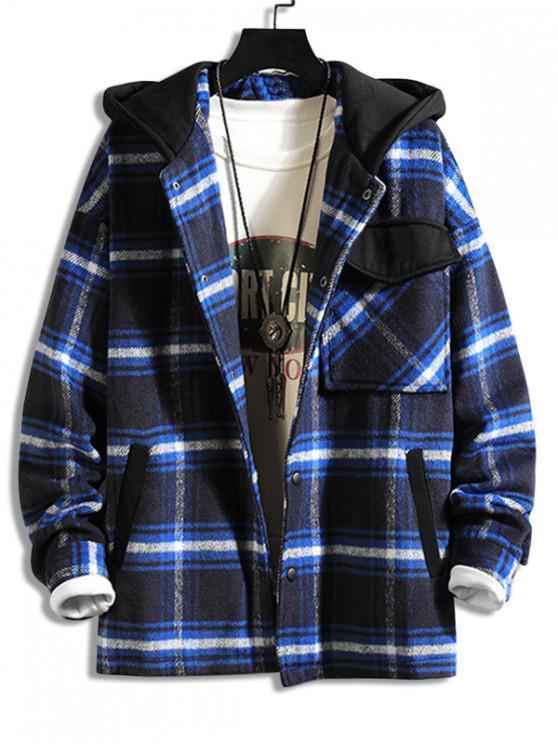 ladies Plaid Flap Pocket Spliced Hooded Jacket - BLUE M