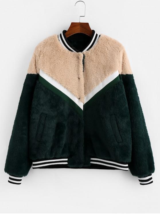 outfits ZAFUL Colorblock Spliced Chevron Fluffy Faux Fur Jacket - MULTI-A L