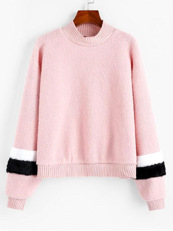 sale Splicing Knitted Teddy Sweatshirt - SAKURA PINK M