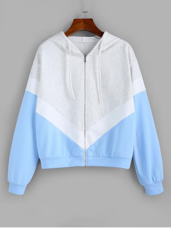 ZAFUL Gota ombro Zip Up Colorblock Hoodie - Koi Azul XL