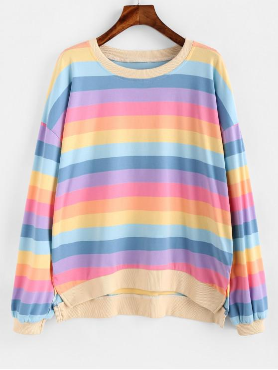 new ZAFUL Rainbow Striped Oversized Sweatshirt - MULTI M