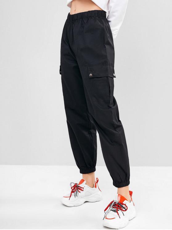 chic Solid Color Pockets Jogger Pants - BLACK S