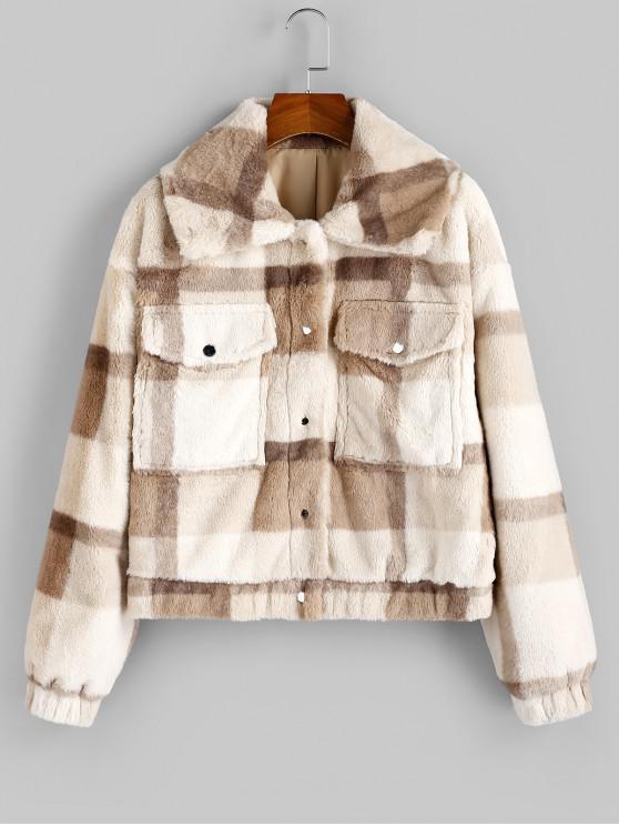 hot ZAFUL Grid Drop Shoulder Pocket Faux Fur Coat - MULTI-A XL
