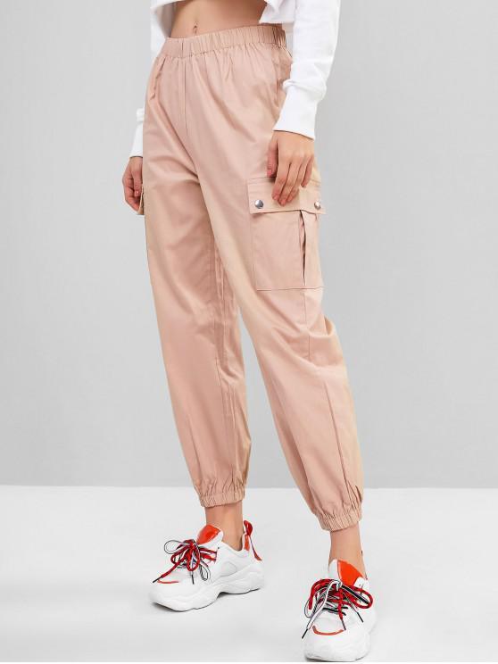 ladies Solid Color Pockets Jogger Pants - ORANGE PINK M