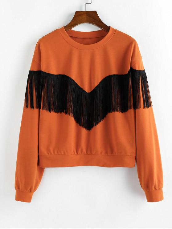 affordable ZAFUL Fringed Drop Shoulder Basic Sweatshirt - BRIGHT ORANGE S