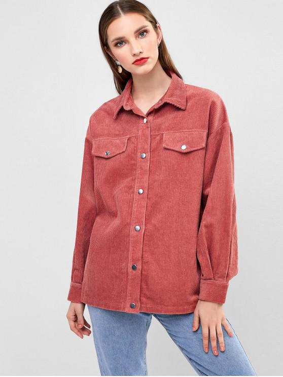 shop ZAFUL Snap Button Corduroy Jacket - KHAKI ROSE S