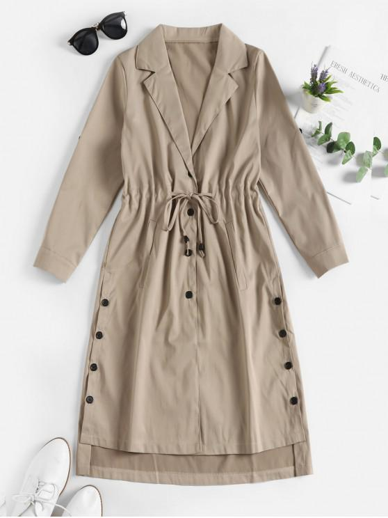 lady Drawstring Button Up Pockets Skirted Trench Coat - LIGHT KHAKI L