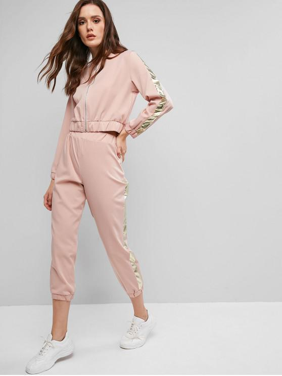 fancy Side Striped Zip Up Jogger Pants Set - ROSE S