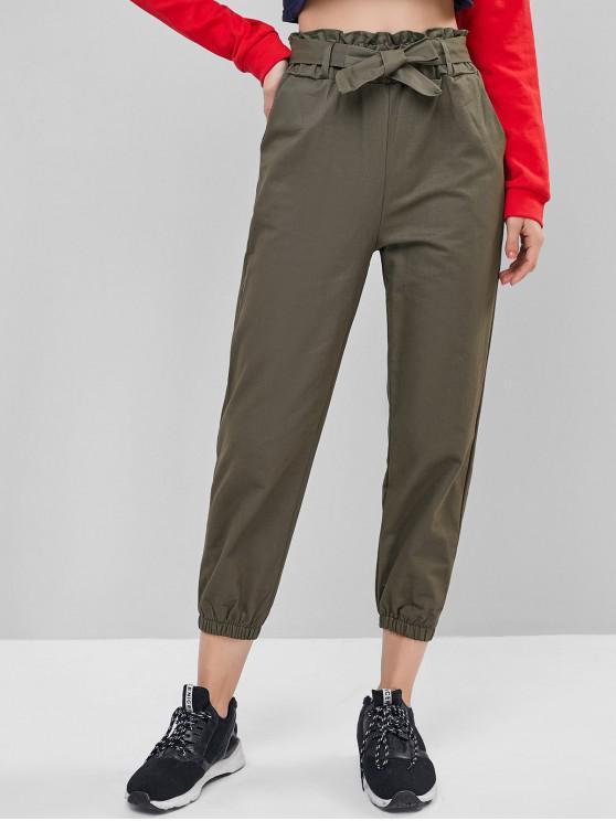 Pantaloni Paperbag talie buzunar jogger - Armata verde 2XL