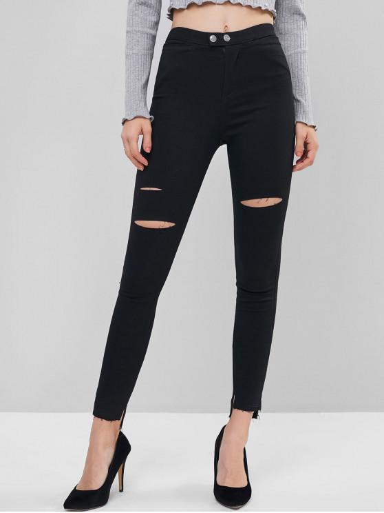 outfit Distressed Slit Hem Mid Rise Leggings - BLACK L