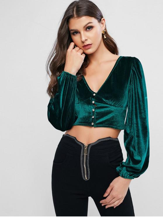 fashion Velvet Plunge Button Loop Long Sleeve Top - DARK GREEN L