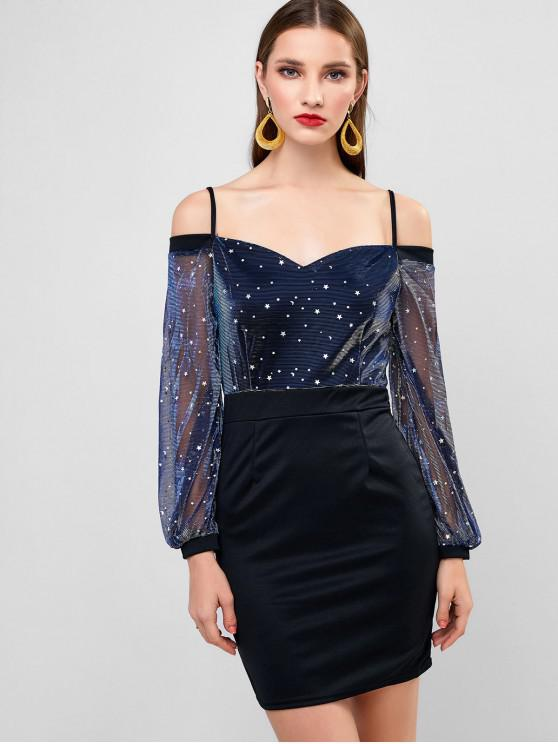 women's Sparkly Star Moon Cold Shoulder Bodycon Party Dress - BLACK XL