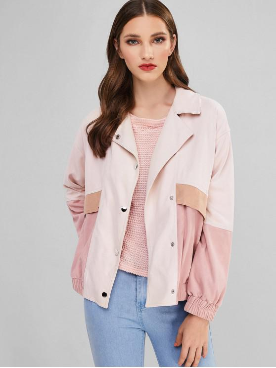latest ZAFUL Faux Suede Contrast Button Up Jacket - PINK XL