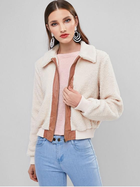 new ZAFUL Colorblock Zip Up Pocket Teddy Coat - BEIGE S