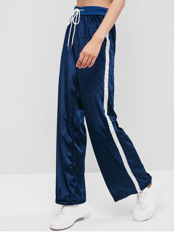 hot Velvet Taped Drawstring Wide Leg Pants - CADETBLUE M