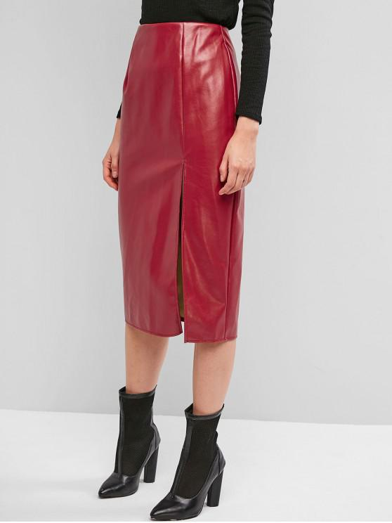 chic Back Zipper Slit PU Leather Midi Skirt - BEAN RED M